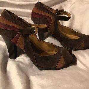 Croft & Barrow 7 1/2 M Open toe dark brown heel